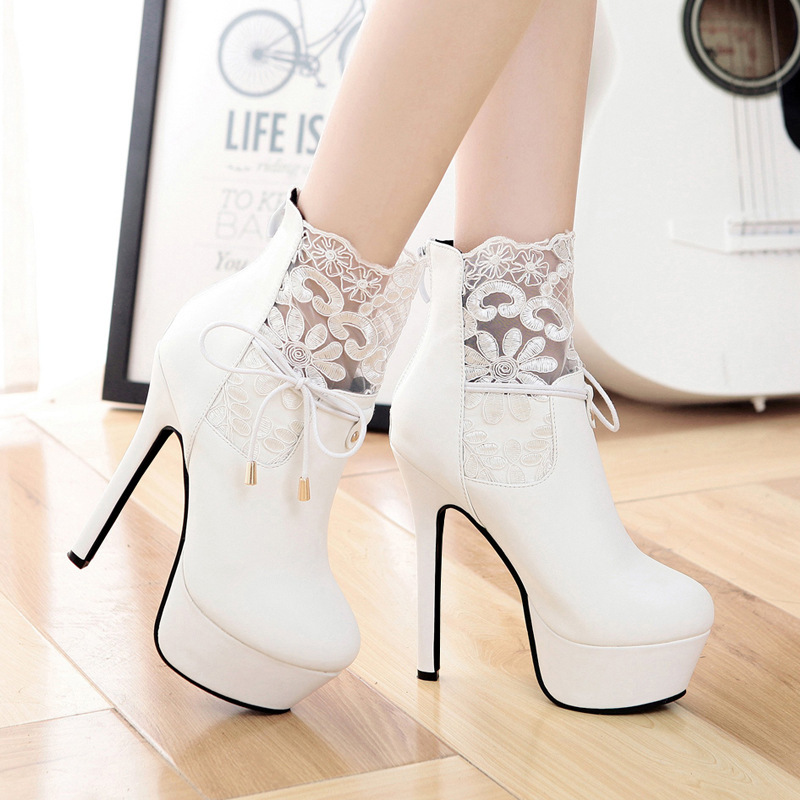 ФОТО 2016 And Winter New Pattern 14CM Super High With Waterproof Platform Fine With Lace Increase Knitting Head Short Boots Woman