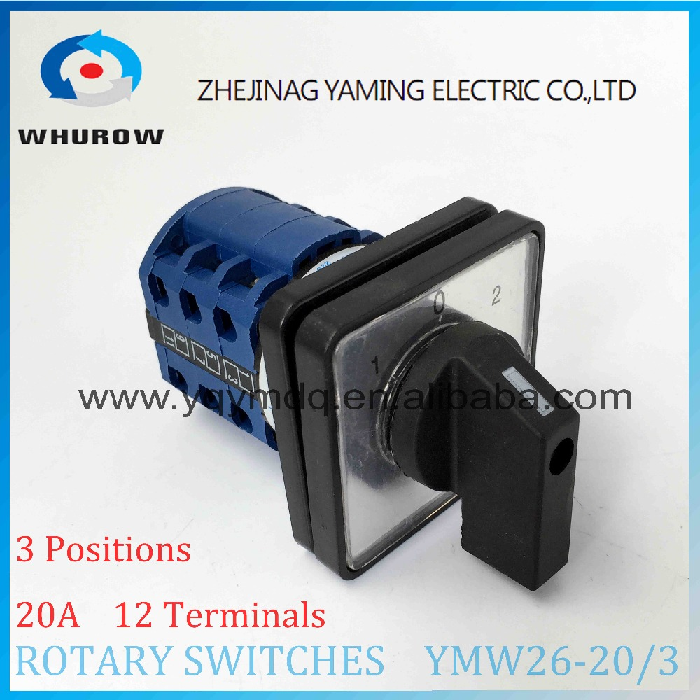 Cam switch YMW26-20/3 manual electrical changeover rotary switch 20A 3 poles 690V DC voltage silver contact high quality 660v ui 10a ith 8 terminals rotary cam universal changeover combination switch