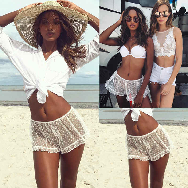 女性服夏カジュアル透明 Se ショーツビーチウェアルースポルカドットメッシュ高底ショーツパンツ