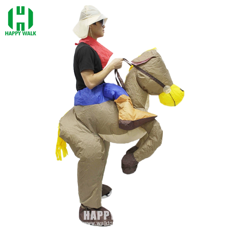 Best Sell Inflatable Cowboy Dinosaur Costume Ride On Horse Fancy Party Dress Halloween Cosplay T-rex Costumes For Adult Kids