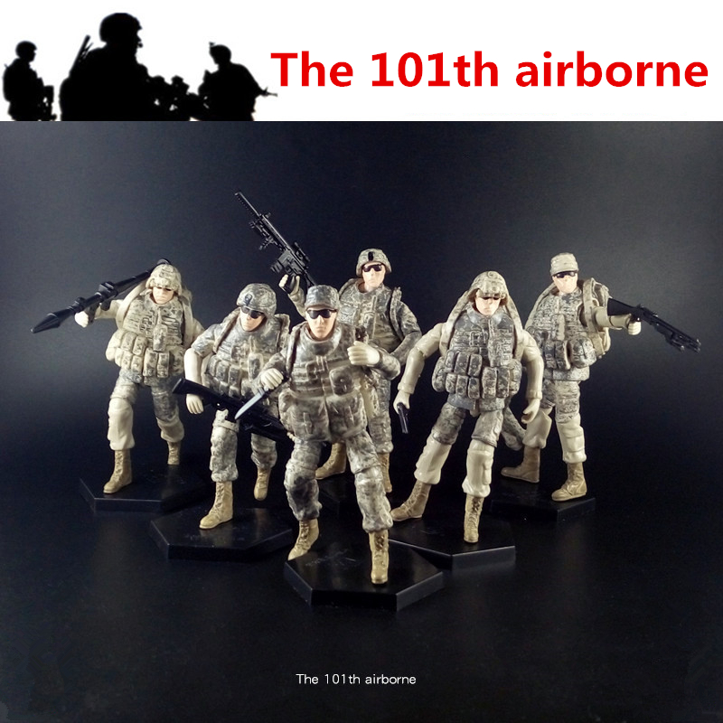 [6pcs/lot] 1:18 The 101th Airborne USA  Amry  Action Figure Soldiers' Joints Movable  Toys New Box