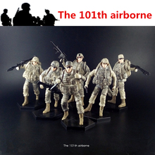 [6pcs/Lot] 1:18 the 101th Airborne USA Amry Action Figure Soldiers Joints Movable Toys New Box