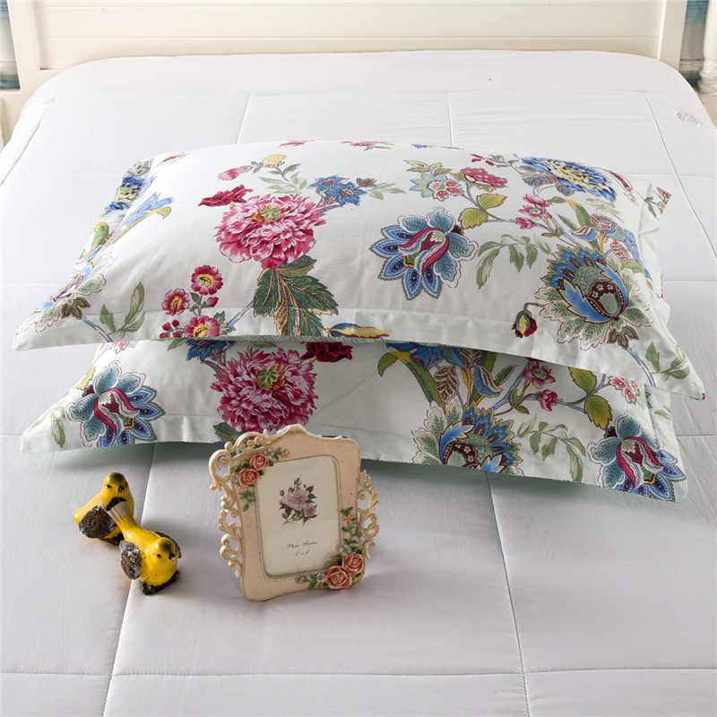 Высокое качество 100% хлопок белые цветы простыни Новые Красочные печати постельные принадлежности наборы мультфильм цветы узор 48*74 см наволочка