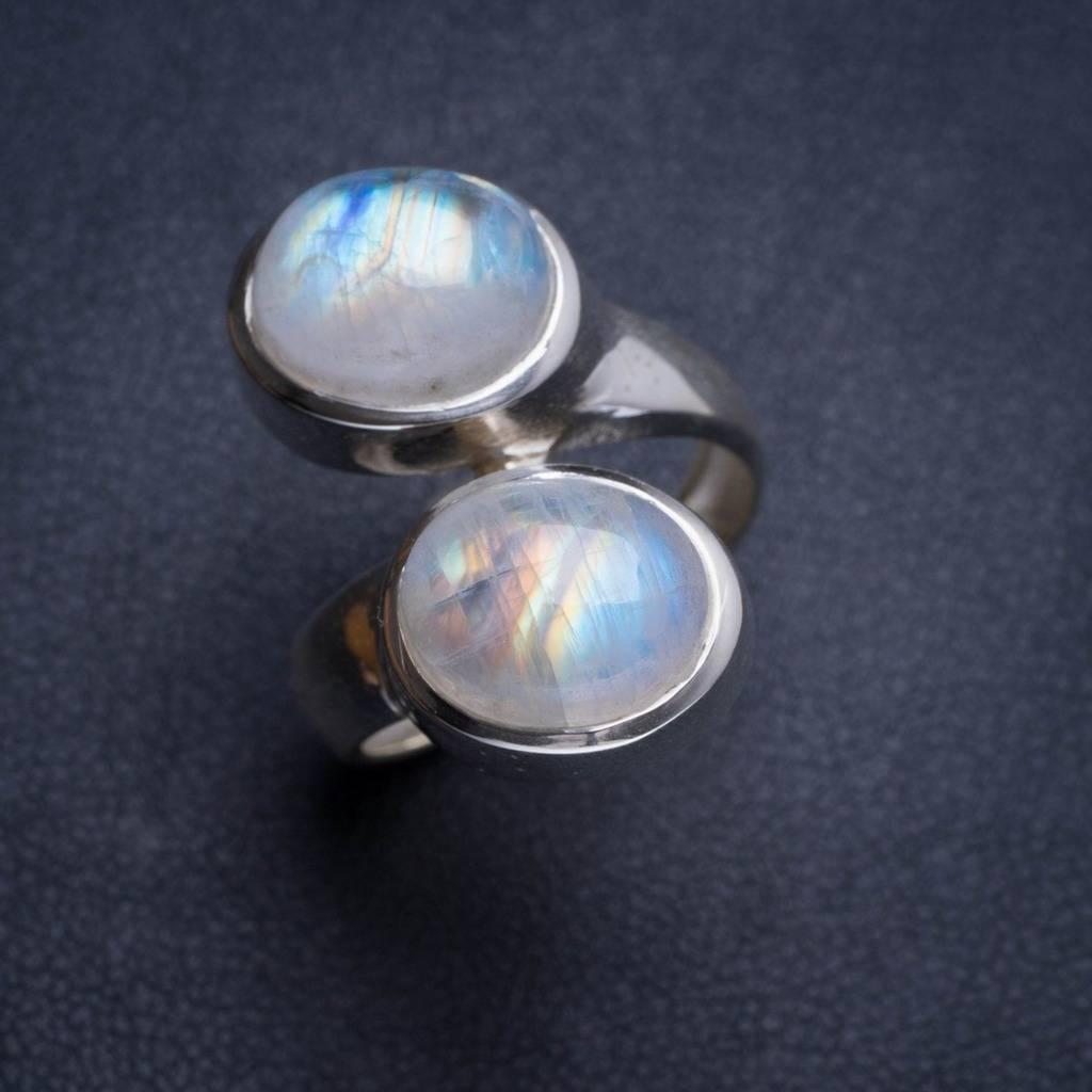 Natural Rainbow Moonstone Handmade Unique 925 Sterling Silver Ring 6.75 Y4681 natural rainbow moonstone handmade unique 925 sterling silver ring 6 75 y4681