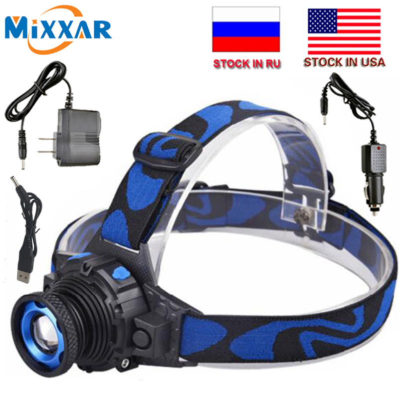 ZK20 Dropshipping Q5 LED Headlight Headlamp Waterproof 3 Modes Zoomable Rechargeable Built-in Battery Head lamps Torch Light