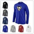 Дешевые Питтсбург Пингвинз Длинным Рукавом Футболки Большие & Tall Логотип Мода Пингвины Тройники Рубашка Хлопок O-образным Вырезом Футболка