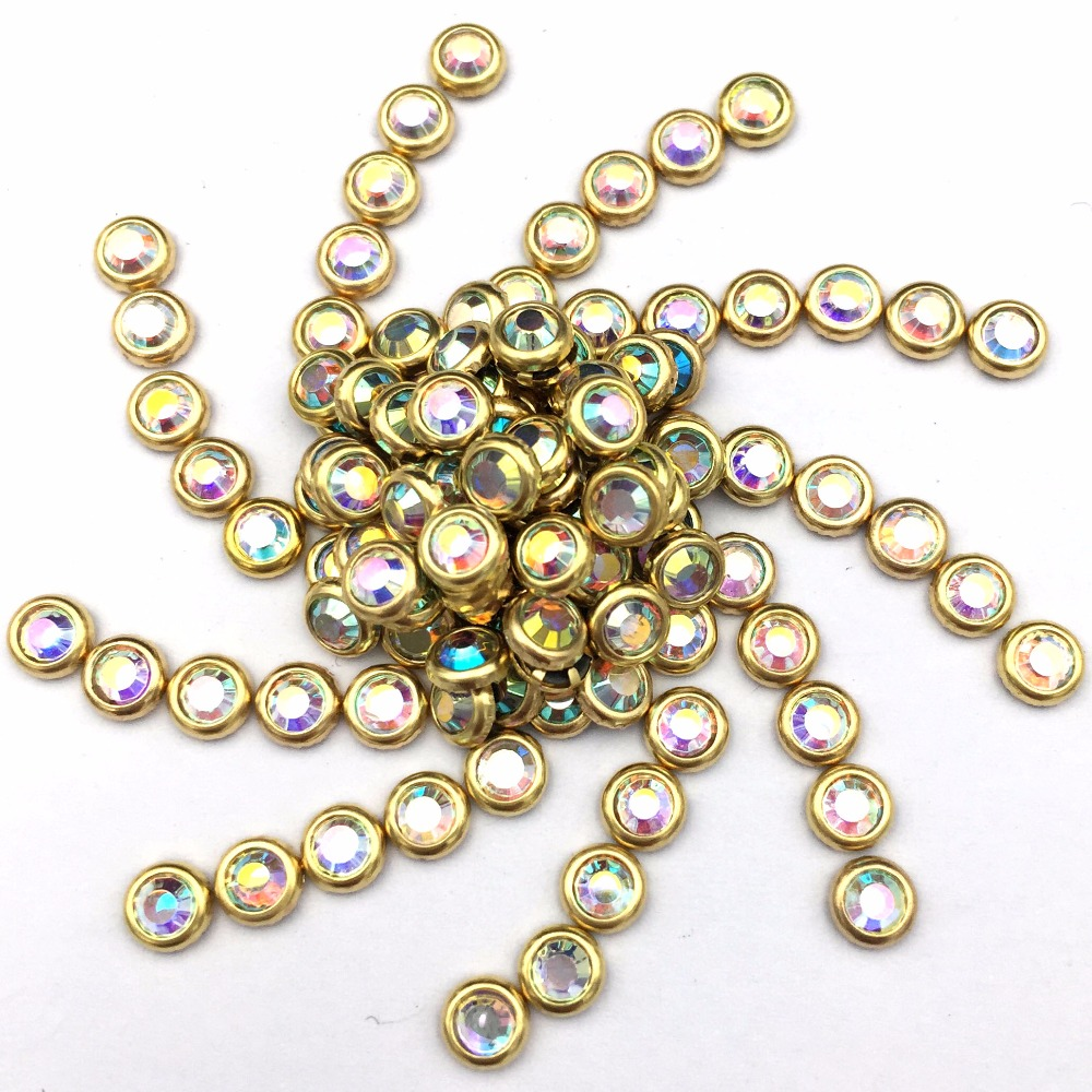 SS16(3.8-4.0mm) strass 3000pcs, gold bording whiteAB Hotfix glitter cryastal Rhinestones nail art accessaries garment