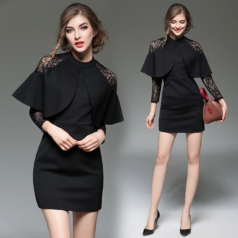 Mode européenne dame nouveau vacances sexy dentelle col se joignant ensemble robe cape vestido noir vêtements mini robes moulante mince
