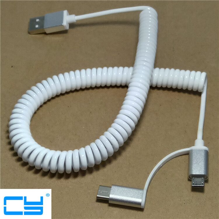 2 in 1 Stretch USBC USB-C 3.1 USB Type C Micro USB 2.0 A Male Data Flat Slim Charge date Cable 3m 10ft for Tablet & Mobile Phone купить