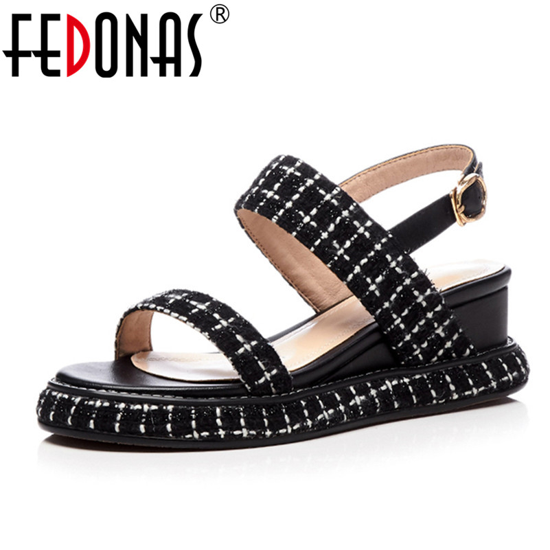 FEDONAS Wedges Platform Women Sandals Fashion Quality Comfortable Bohemian Women Sandals For Lady Shoes Wedges heel Black Shoes new women sandals low heel wedges summer casual single shoes woman sandal fashion soft sandals free shipping