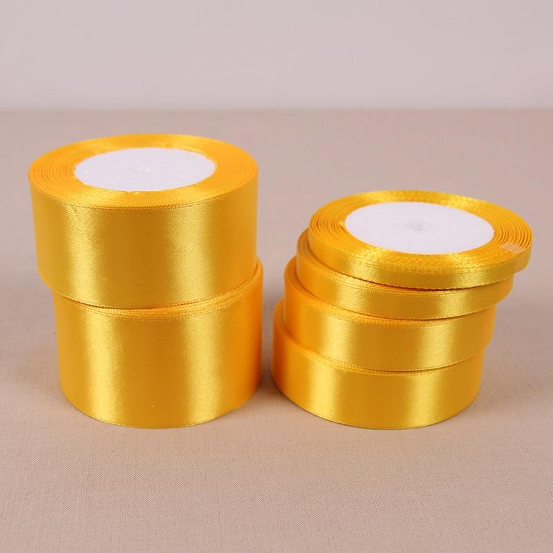 Оптовая продажа 25yard золото шелковые, атласные ленты Свадебная вечеринка украшения подарочной упаковки Рождество Новый год одежда Вышивание Ткань ручной DIY
