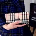 Роскошный Британский Решетки Женщины Долго Бумажник Классический Плед Кожа PU Засов Сцепления Дамы новый Дизайн Карты Держатель Кошелек Feminina