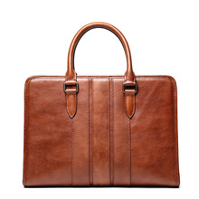 Men Business Briefcase Crazy Horse Genuine Leather Shoulder Portfolio Laptop Bag Fashion Document Bag Cow Leather Office Handbag недорого