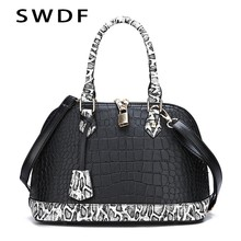 SWDF 2019 Women Genuine Leather Classic Messenger Bags Luxury Serpentine Bag Lady Crossbody Bags Designer Lock Handbags Bolsas(China)