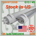 90pcs/lot Free Shipping LED TUBE 4FT 120cm 24W T8 G13 Bulb work into existing fixture 85-277V Stock in USA NO Tax