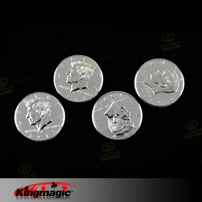 Double Face Magic Coin Trick Half Dollar 2 Sidor Heads Magic Props Magic Tricks Gratis frakt 5st / lot