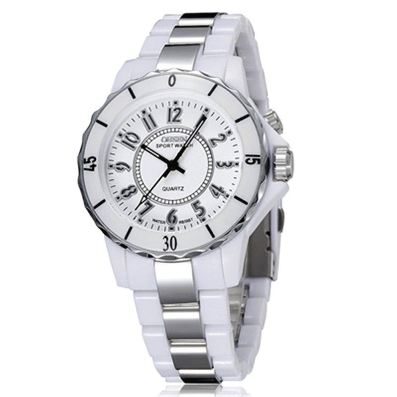 OHSEN женские роскошные водонепроницаемые кварцевые спортивные часы 7 разноцветный светодиодный светильник часы FG0736 Relogio Esportivo Feminino - Цвет: Белый