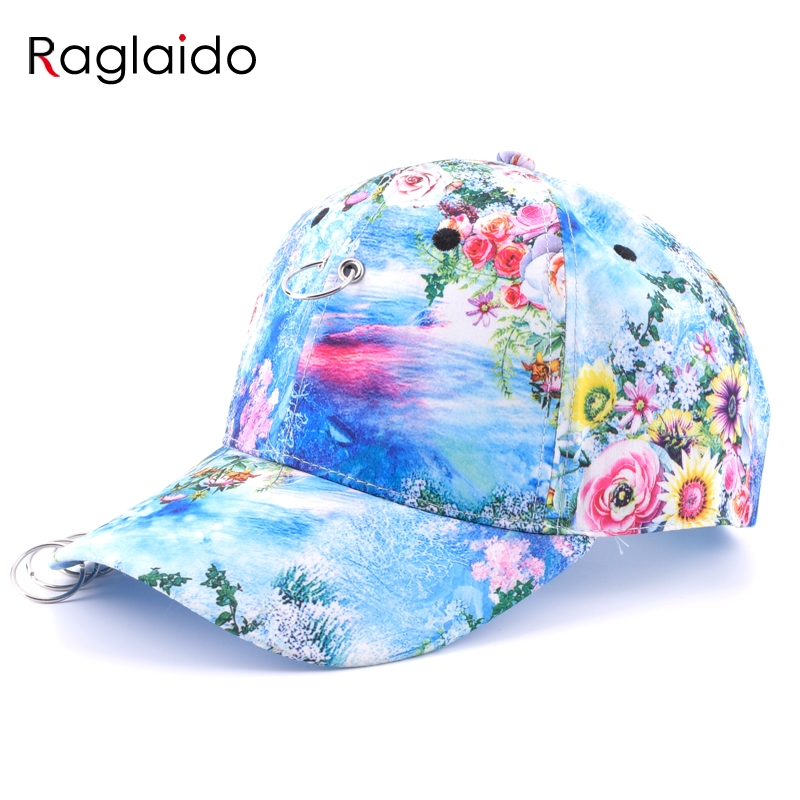 Raglaido floral Print Baseball Caps Women Men Unisex Brim Hat Snepbeck Casual Cotton Hats Adjustable Hiphop Snapback LQJ01289