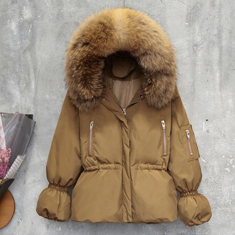 Новинка, пальто с капюшоном и большим меховым воротником из натурального енота, Женская куртка на 90% белом утином пуху, модная брендовая зимняя верхняя одежда, теплая свободная парка для женщин