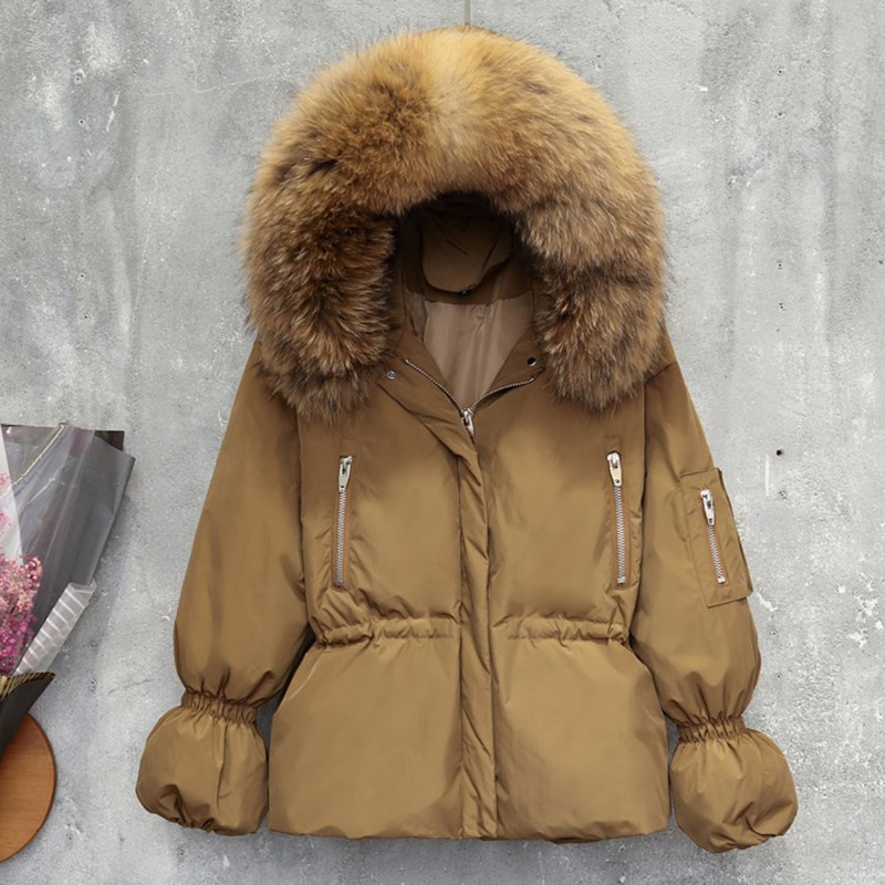 New Real Raccoon Big Fur Collar Hooded Coat Women 90% White Duck Down Jacket Fashion Brand Winter Outwear Warm Loose   Parka   Femme