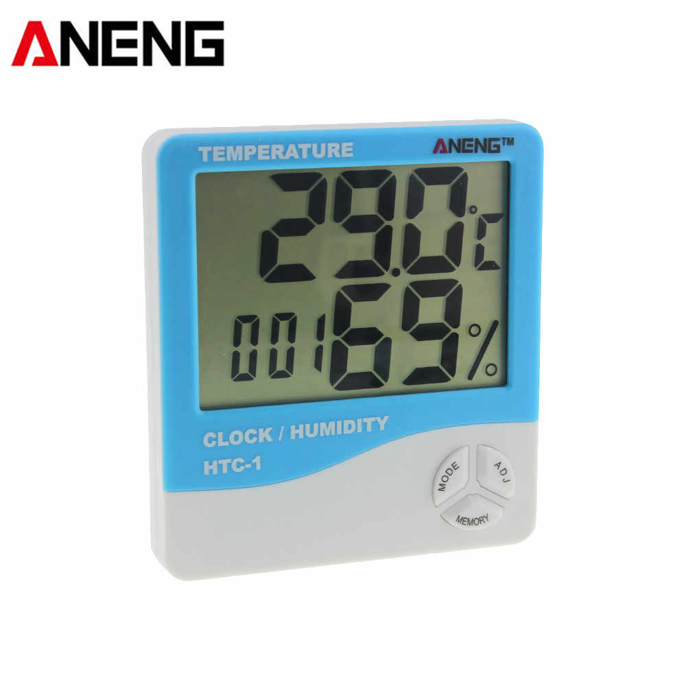 ANENG HTC-1 Digital LCD Thermometer Hygrometer Temperature Humidity Meter Electronic Weather Station Alarm Clock