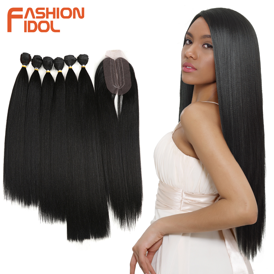FASHION IDOL Yaki Straight Hair Bundles 7Pcs/Pack 16-20inch Ombre 613# Synthetic Hair Bundles With Closure Weave Hair Extension