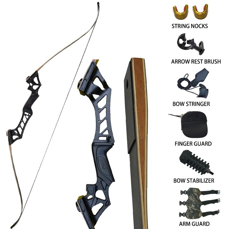 Изогнутый демонтаж охотничий лук набор 30-60lbs с аксессуарами для тренировок на открытом воздухе Стрельба Цель длинный лук для стрельбы черны...