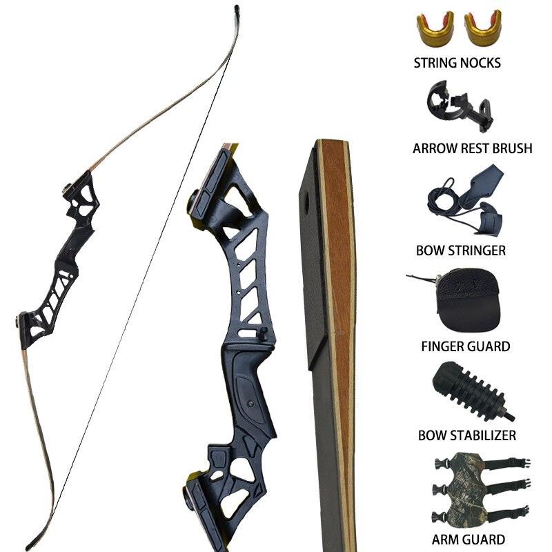 Arc de chasse classique à emporter 30-60lbs avec accessoires pour l'entraînement en plein air tir à l'arc cible Longbow noir Camouflage