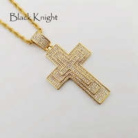 Black Knight Gold color stainless steel Full Rhinestones big Cross necklace mens hip hop fashion pendant necklace BLKN0778