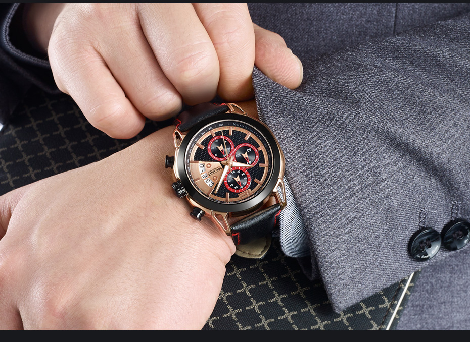 Topdudes.com - MEGIR Creative Fashion Leather Chronograph Relogio Masculino Quartz Wrist Watch
