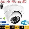Câmera Ip wi-fi Áudio hd 720 p P2P CCTV Sistemas de MICROFONE Sem Fio Indoor Dome Kamera Infravermelho Mini Onvif H.264 IR Night Vision Cam