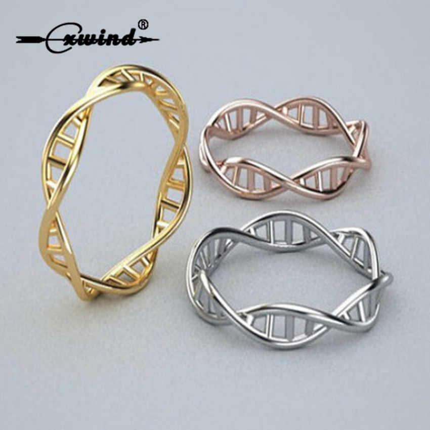 Cxwind แฟชั่น DNA แหวนวิทยาศาสตร์เคมีแหวนโมเลกุลแหวนสารสื่อประสาท Dopamine เครื่องประดับ infinity แหวน