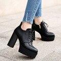 Botas de Mujer de Moda Las Mujeres Negras Bombas de Espesor de Alta Talón Square zapatos de las plataformas Bombean Los Zapatos de Cuero Ata para arriba La Cremallera de Otoño Invierno nueva