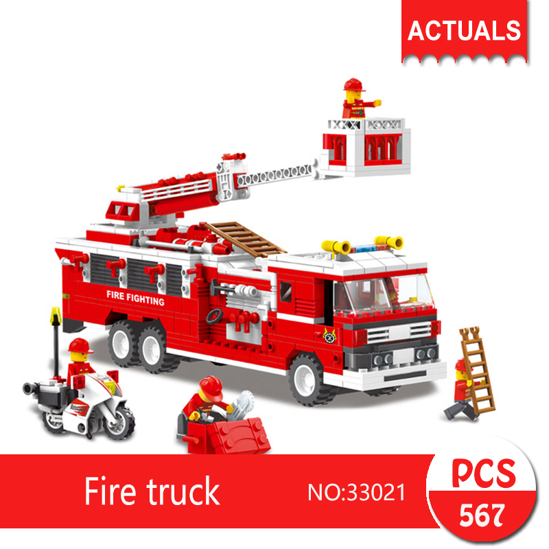 33021 567Pcs City series Fire truck Model Building Blocks  Bricks Toys For Children Gift Educational toys wange city fire emergency truck action model building block sets bricks 567pcs classic educational toys gifts for children