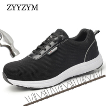 ZYYZYM Men Work Safety Boots Ventilation Spring Autumn Outdoor Steel Toe Puncture Proof Protective Shoes
