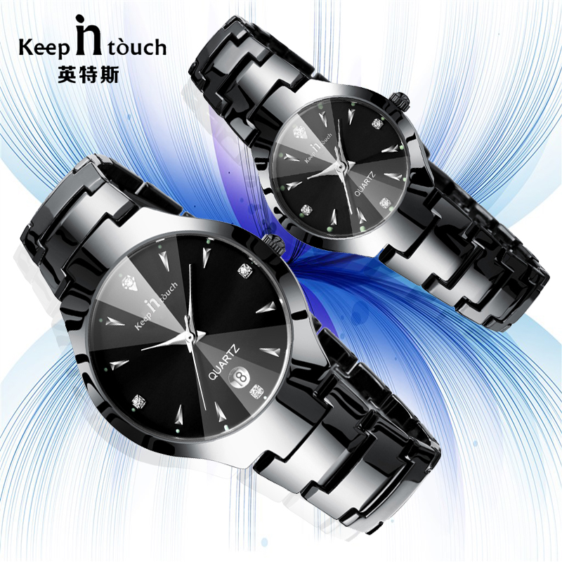 Luxury Lover Watch Waterproof Noctilucent Quartz Couple Lovers Watches Black Men Women Wirswatch For Couples Horloges popular black skull sports watch silicone bands touch screen led watch women mens free shipping gitt for lovers couple