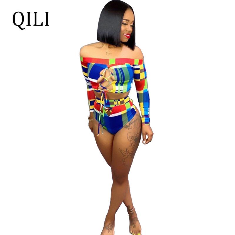 QILI Women Beach Bodysuits Two Piece Set Lace UP Rompers Off Shoulder Long Sleeve Sexy Bodysuit Shorts Sets Beach Wear in Bodysuits from Women 39 s Clothing