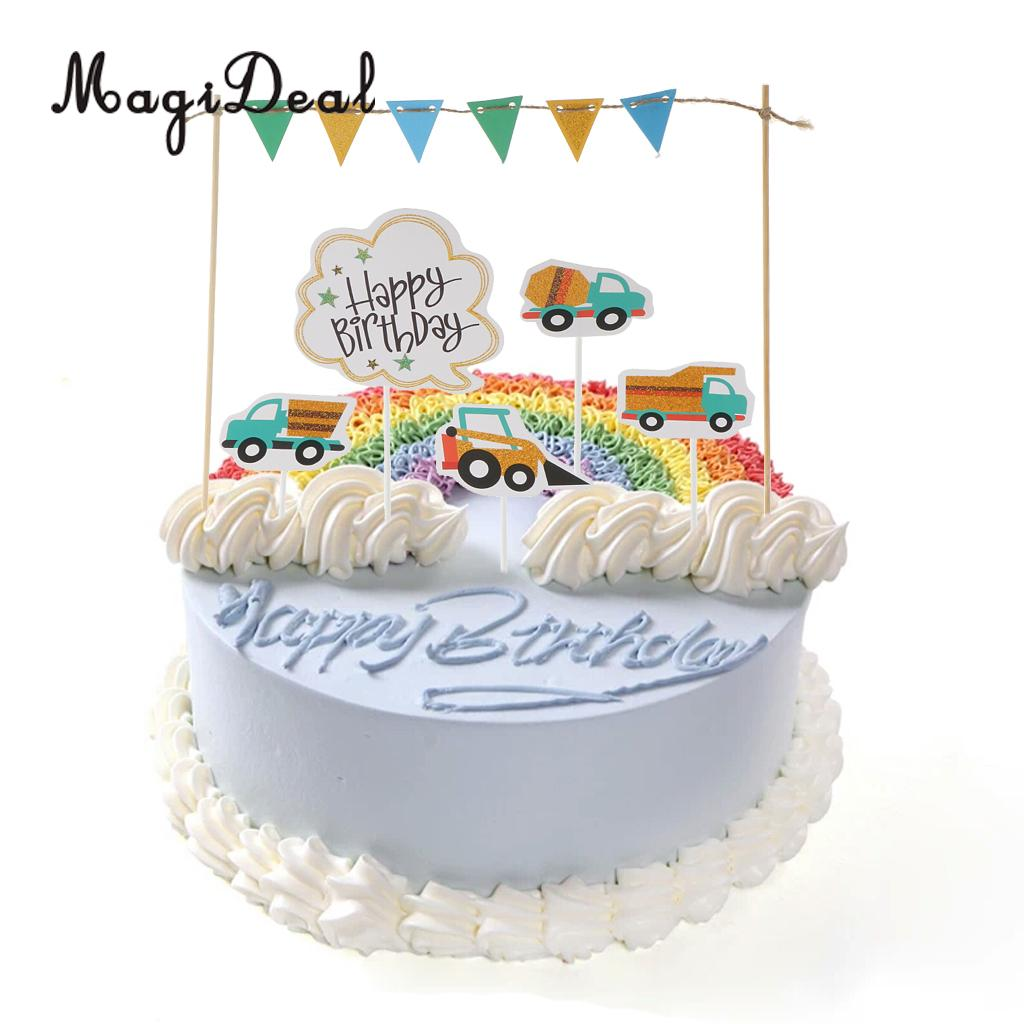 Aliexpress Happy Birthday Cake Topper Banner Fahrzeuge Lkw