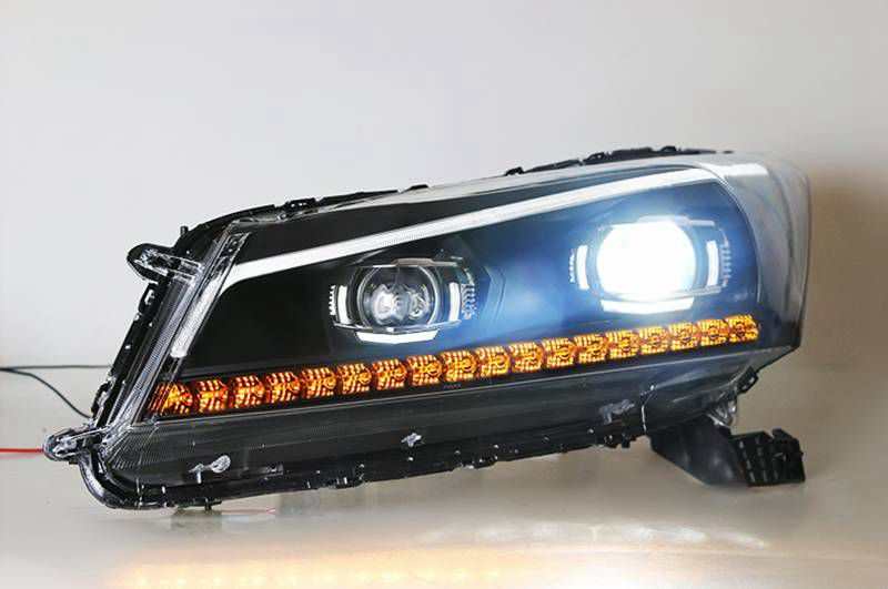 VLAND factory for Car head lamp for Accord LED Headlight 2008-2013 Head light with turn signal with sequential indicator free shipping vland factory for elantra led taillight 2012 2013 2014 2015 led light bar taillamp