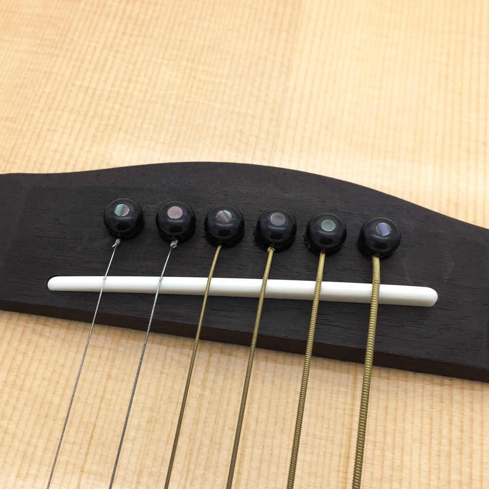 6x PVC Bridge Pins mit Shell Punkte für Akustikgitarre Multi-Farben PDH