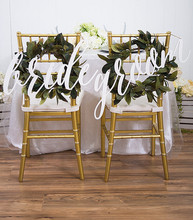 ФОТО 2pcs/lot bride and groom chair signs for wedding,hanging chair sign for wedding chair decoration