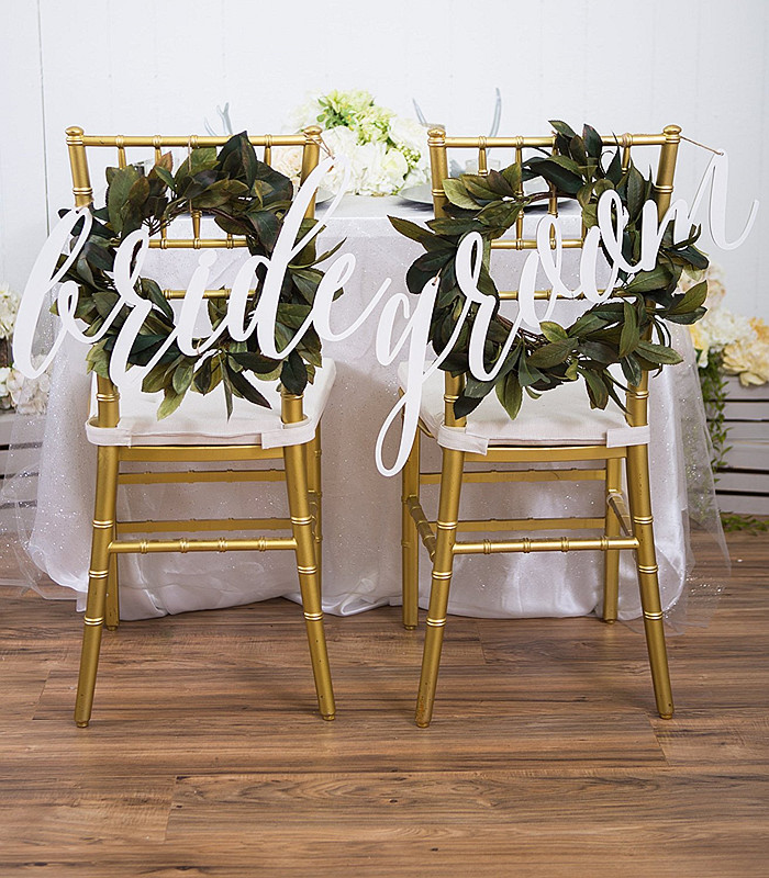 2pcs/lot Bride and Groom Chair Signs for Wedding,Hanging Chair Sign for Wedding Chair Decoration