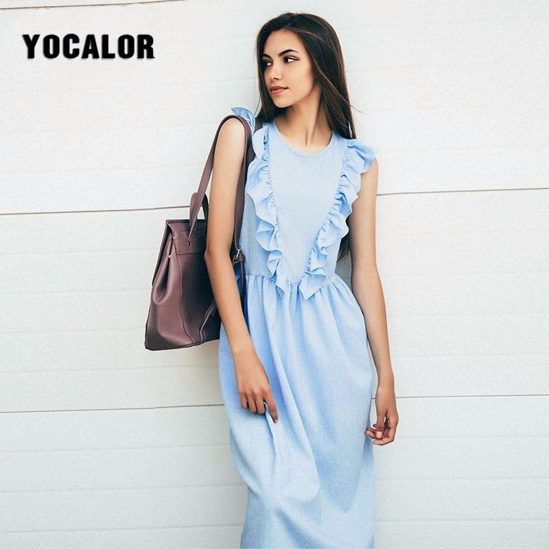 2018 Для женщин оборками плиссе Sleveless до середины икры летнее платье элегантный синий Винтаж длинные Платья для вечеринок Цветочный Пляж инте...