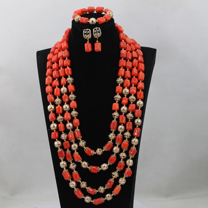 African Long Pattern 4 Rows Orange Add Gold Ball Coral Beads Party Jewelry Set Costume Jewelry Set Wholesale Free Shipping CJ457