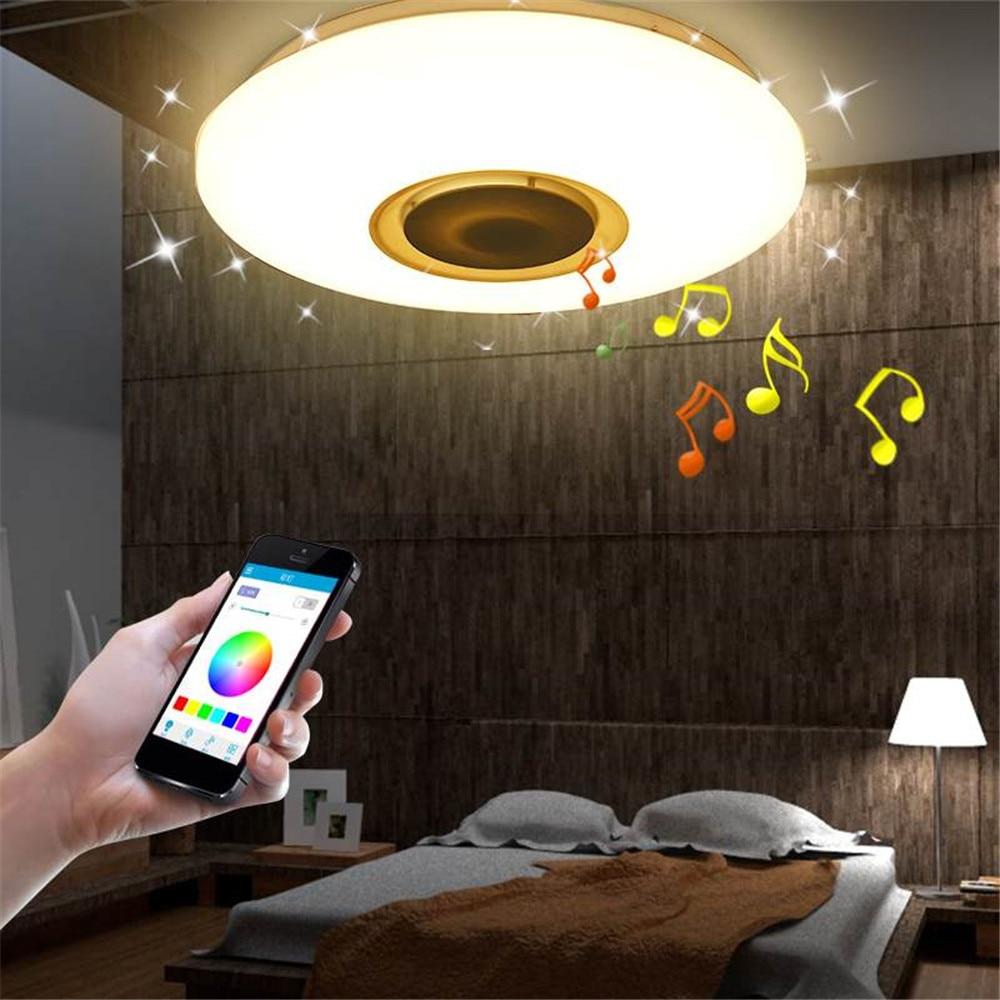 Moderna lâmpada led rgb luz regulável 36 w 60 app controle remoto bluetooth música moderna conduziu a luz de teto - 4