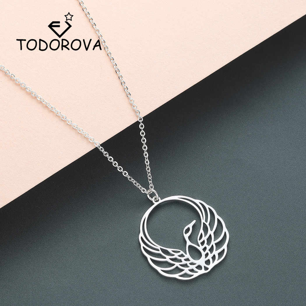 Todorova Bird Charm Necklace Origami Phoenix Pendant Necklace Gold Chain Necklace Women Animal Jewelry Accessories Men Necklace