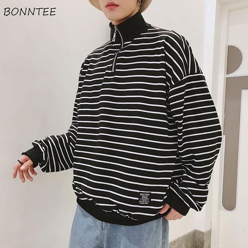 Hoodies Men Clothing Turtleneck Spring Long-Sleeve Autumn Korean-Style Striped High-Quality
