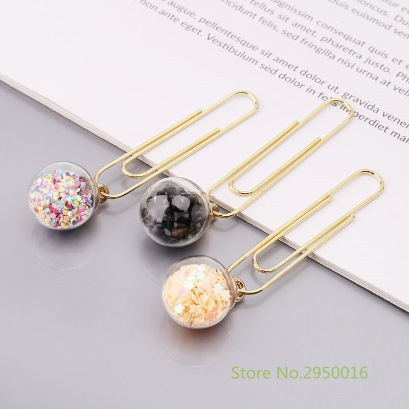 Office Binding Supplies 5pcs/box Glass Ball Paper Clips Notes Marker Diy Metal Binding Memo Paper Letter Clip Bookmark Novelty Stationery Gift C26
