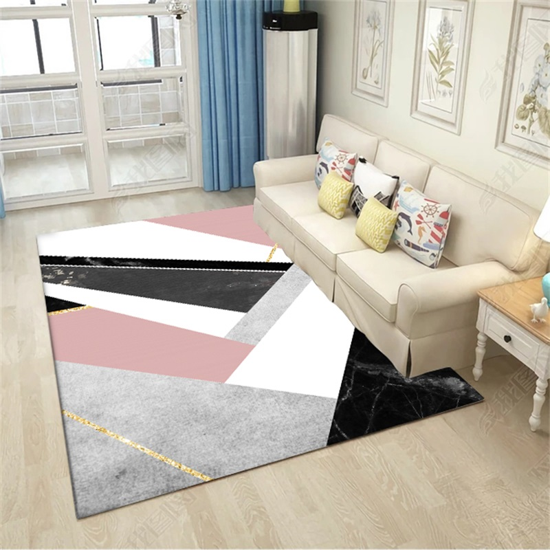 Modern Geometric Pink White Black Marble Door Mat Bathroom Parlor Living Room Bathroom Home