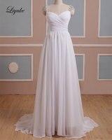 Liyuke J49 שיפון אלגנטי מתוקה ליין שמלות כלה קריסטלים ואגלי באורך רצפה פשוט Ruchd קפלי שמלות הכלה